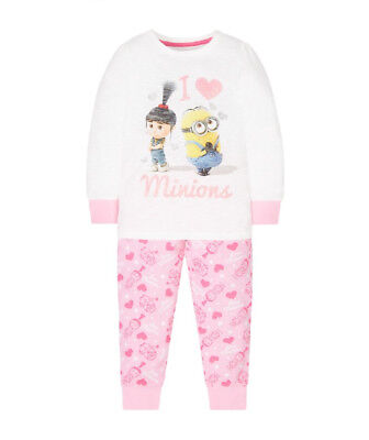 BNWT MOTHERCARE PINK I Love MINIONS GIRLS Pyjamas  AGE 5-6