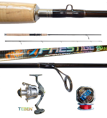 canna spinriver carbonio 2.7m 5//25g mulinello pesca spinning trota bass