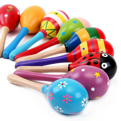 Wooden Ball Toy Sand Hammer Rattle Musical Instrument Percussion For Baby Kid#