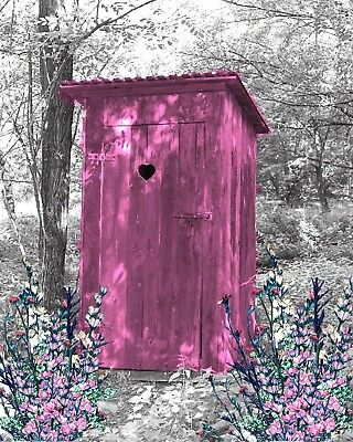 Pink & Gray Home Decor Wall Art Photo Print Vintage Outhouse Bathroom Picture