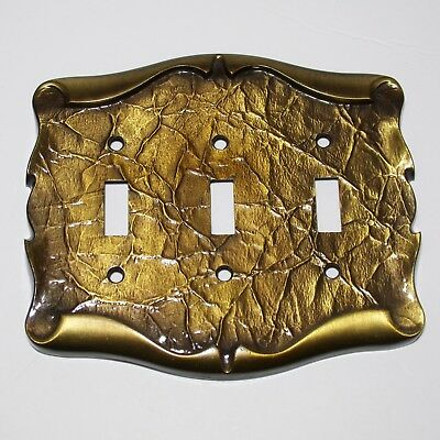 AMEROCK triple Switch plate 9086-1 Vintage Antique brass tone metal nice 1970s