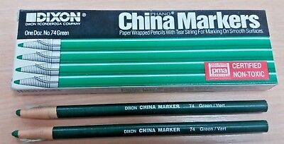 6 Dixon New Good Quality Green China Markers / Pencils Write On Glass Plastic