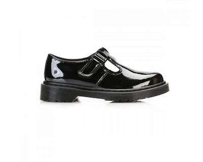 Martens Goldie Girls School Shoes Black Touch Fast T Bar Leather Kids Dr