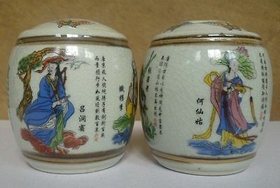 1 Pair Old Handwork Jingdezhen Porcelain Painting Eight Immortal Storage Pot