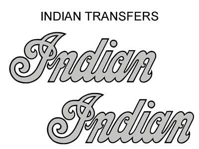Indian Tank Transfer Decal American Motorcycle Pair D50928 Black Silver Large