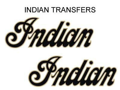 Indian Tank Transfer Decal American Motorcycle Pair D50928 Gold Black Large