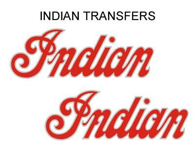 Indian Tank Transfer Decal American Motorcycle Pair D50928 Silver Red Large