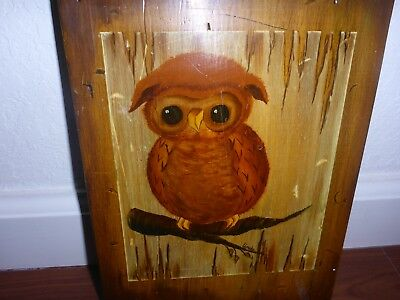 Vintage Owl Art ADORABLE Wall Hanging Wood Wooden Plaque Cute 1960s 1970s baby