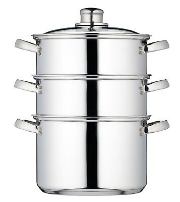 KitchenCraft Induction-Safe Stainless Steel 3-Tier Food Steamer Pan / Stock Pot,