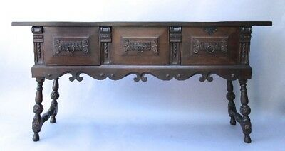 Antique 1920's California Spanish Revival Walnut Sideboard Carved Wood (10570)