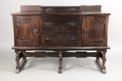 Antique 1920's Spanish Revival Walnut Sideboard With Dancing Signorita (10765)