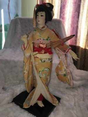 "VTG Japanese Asian Oriental Geisha Girl 16"" Doll Silk Kimono Nishi (Reproduction"