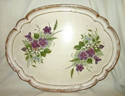 Vintage Hand Painted Wood Tole Tray - Violets/Floral - Italy