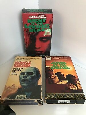 George A Romero VHS lot DAWN, DAY, AND NIGHT OF THE LIVING DEAD 3 movies
