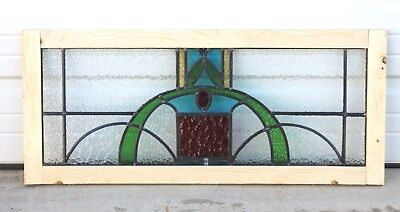 Antique English 5-Color Leaded Stained Glass TRANSOM Window Reframed Art Deco #3