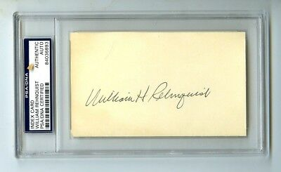 William Rehnquist Chief Justice Nominated by Ronald Reagan Signed Index Card PSA