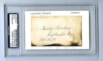 28th Attorney General Henry Stanbery Under Johnson Cut Autographed Card PSA/DNA