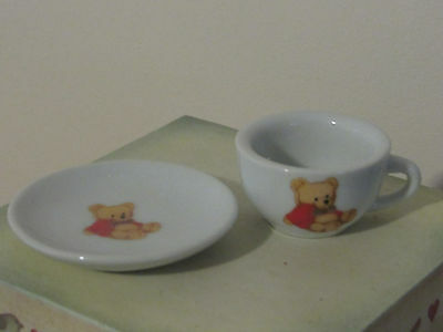 Very Nice Battat Set Two Cups & Saucers Bears, Pink Handles & Polka-Dots Plus