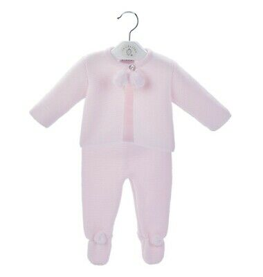Traditional Spanish Style Baby Girls Pink Knitted Pom Pom Outfit
