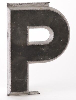 "Adler Sign Letter Co Vintage Marquee Cast Metal Aluminum Black Silver ""P"" #1 G12"