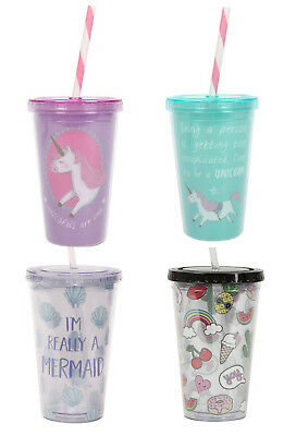 Unicorn / mermaid Insulated kids drinks cup with straw and lid pink Unicorns