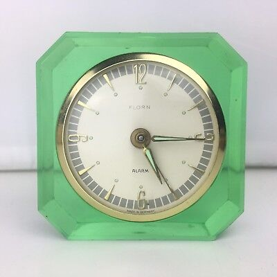 FLORN Green Plastic Vintage Travel Alarm Clock Germany Wind Up Glow In The Dark