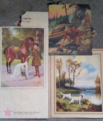 Antique Calendar Prints Assorted Man Camping, Hunting Dogs, English Rider