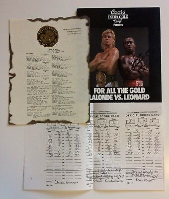 Sugar Ray Leonard SIGNED vs Donny LaLonde Boxing Programme/Bout Sheet/Scores