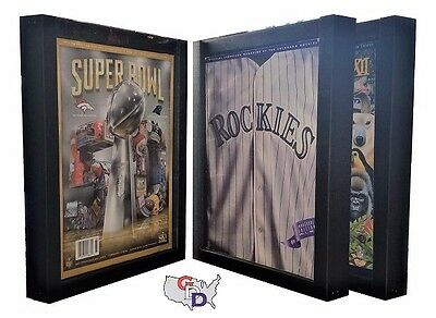 Lot of 3 Sports Program Magazine Display Frame UV Protecting Extra Deep GameDay