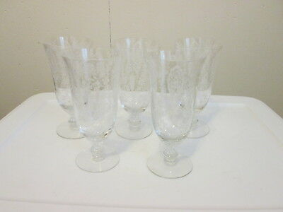 """5 Tiffin JUNE NIGHT 6-1/2"""" Tall Footed Iced Tea Tumblers"""
