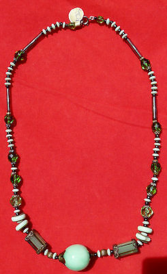Art Deco green glass bead necklace with Pecking glass bead center