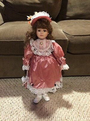 """Vintage Mcfield Fashion Co Porcelain Doll 24"""" With Wood Stand Nice Condition"""