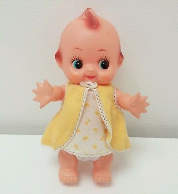 """Vintage Rare Kewpie Rubber Vinyl Baby Doll 8"""" Japan Yellow Dress Collector Toy"""