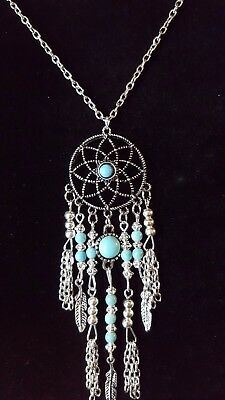 Silver Dreamcatcher Feather Chain Pendant Necklace Turquise stone Dreams 220