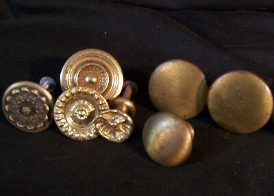 Lot of 7 Antique Vintage BRASS Knobs Drawer Hardware Pulls Round
