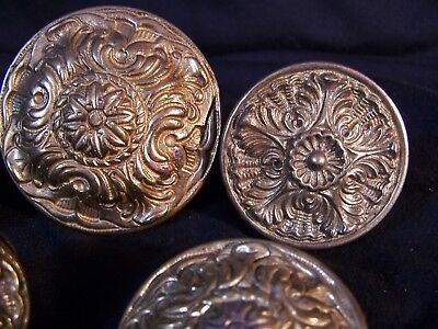 Lot of 5 Antique Vintage Heavy BRASS Knobs Drawer Hardware Pulls Ornate Round