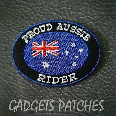 Proud Aussie Rider Harley Biker  Iron On Patch Sew Badge Aussie Vest Biker
