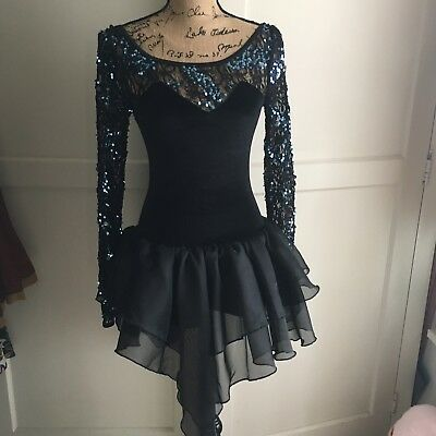 Black blue Competition Dance Jazz Tutu Unitard Costume Adult small