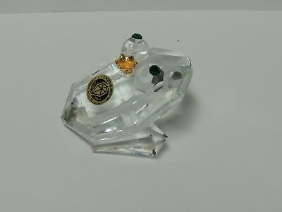 Bohemia Crystal Glass Hand Made Frog Sklarny Brdzov Green Eyes Gold Crown
