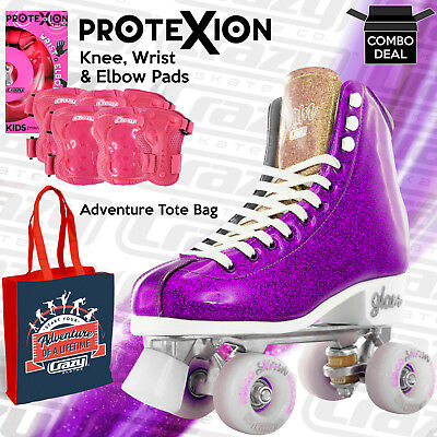 Girls Ladies Roller Skate PURPLE Glitter Kids Boot Quad - Crazy Skates™ Size