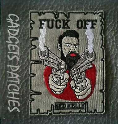 """""""F@CK OFF"""" Ned Kelly HARLEY BIKER PATCH IRON ON SEW ON JACKET MOTORCYCLE"""