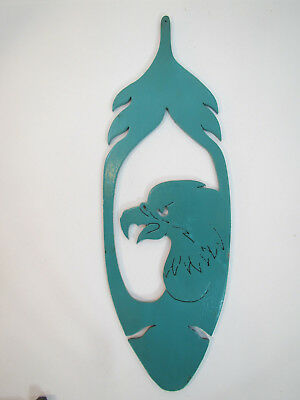 Laser Cut Solid Wood Eagle Feather & Head Ornament Signed 1999, Southwest Art