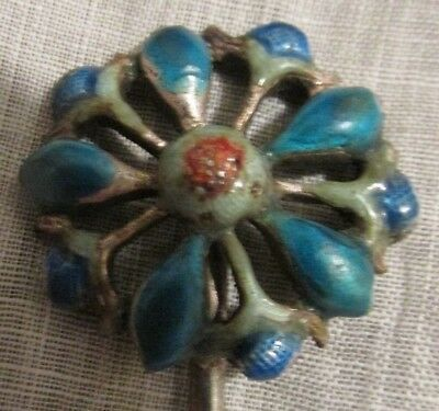 Antique Chinese Enamel on Silver Hair Pin 19th Century Enamel Floral Chop Marks