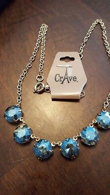 Gorgeous Rhinestone Peacock Blue Crave Necklace Jewels Shine Sparkle Brand NEW
