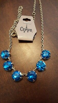 Gorgeous Rhinestone BLUE Oceans Crave Necklace Jewels Shine Sparkle Brand NEW