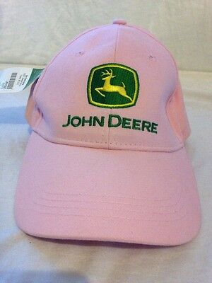 John Deere Hat  Pink with Green Yellow Logo Adult One Size Adjustable Cap