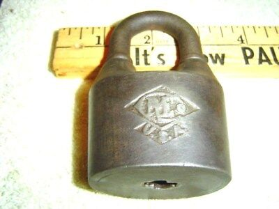 Large Antique Vintage CREo Padlock Lock  With No Key Tool