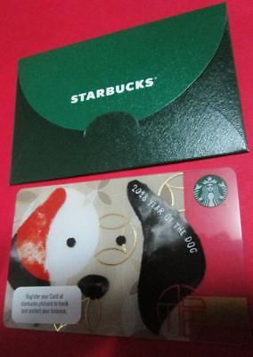 2018 STARBUCKS New Year Card LUNAR *DOG * with sleeve Philippines pin intact