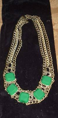 Vintage Art Deco 3 Strand Curb Chain Necklace Chunky Green Lucite Square Stones