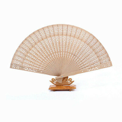Chinese Style Hollow Wooden Folding Bamboo Carved Hand Fan Scent Geschenk POP
